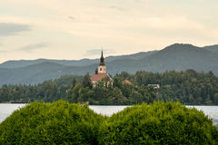 Little island with catholic church in Bled lake stock photos