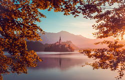 Little Island with Catholic Church in Bled Lake, Slovenia  at Sunrise. With Castle and Mountains in Background. Autumn Filter. Tree Leaves Border. Natural Frame