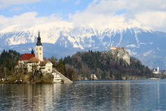 Little island in the middle of lake Bled Stock Photos