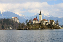 Little island in the middle of lake Bled stock photo