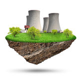 Little island. With nuclear power plant Royalty Free Stock Images