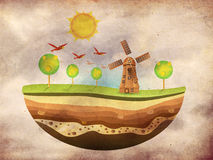 Little island with windmil on grunge background Stock Images