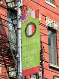 Little Italy banner, Manhattan, New York. Welcome sign to Little Italy, historic neighborhood in Lower Manhattan, New York City Stock Image