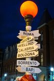 Boston sign at night leads to italy stock photo