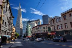 Little Italy, Financial district, downtown San Francisco, United States. November 30, 2017 Royalty Free Stock Images
