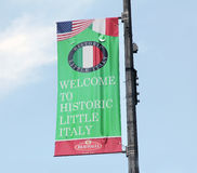 Little Italy flag. A welcome flag to historic little italy Stock Image