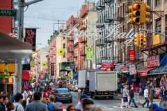 Welcome to Little Italy sign in New York City USA. Little Italy is a neighborhood in Lower Manhattan, New York City, USA, once known for its large population of Stock Images