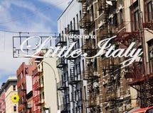 Little Italy in New York City. Little Italy sign in Manhattan, New York City street scene stock photography