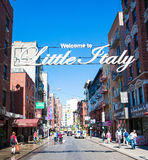 Street in New York. Welcome to Little Italy sign on Hester street in Manhattan New York Royalty Free Stock Images