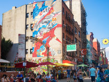 Little Italy in New York with a graffiti of the Statue of Liberty Royalty Free Stock Photography