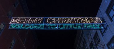 Little Italy Sign. Welcome to Little Italy Sign during the holidays in New York City Royalty Free Stock Photo