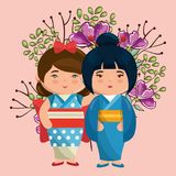 Little japanese couple girls kawaii with flowers characters Royalty Free Stock Images