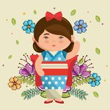 Little japanese girl kawaii with flowers character Royalty Free Stock Images