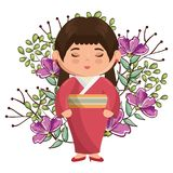 Little japanese girl kawaii with flowers character Royalty Free Stock Image