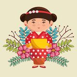 Little japanese girl kawaii with flowers character Stock Photography