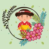 Little japanese girl kawaii with flowers character Royalty Free Stock Photo