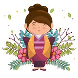 Little japanese girl kawaii with flowers character Royalty Free Stock Photography