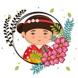 Little japanese girl kawaii with flowers character Royalty Free Stock Photos