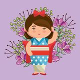 Little japanese girl kawaii with flowers character Stock Photo