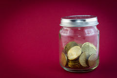 Little Jar with euro coins Royalty Free Stock Images