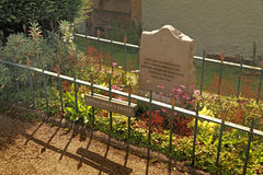 Little John's Grave. Little John was a legendary fellow outlaw of Robin Hood and his grave is in the churchyard at Hathersage in Derbyshire, England royalty free stock photo