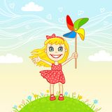 Little joyful girl plays a pinwheel Royalty Free Stock Images
