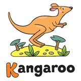 Little kangaroo, illustration for ABC. Alphabet K. Children vector illustration of little funny jumping kangaroo, running through the desert. Alphabet K Stock Photography