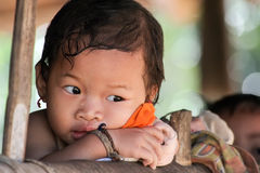 Little Karen tribe girl Stock Photo