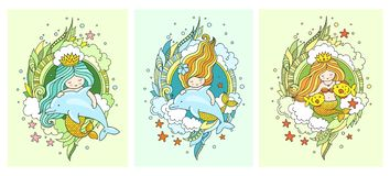 Little kawaii princess mermaids, dolphins, fish. vector illustration