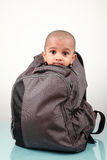 Little kid in a bag Royalty Free Stock Images