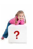 Little kid on the block with letter Stock Image