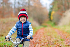 Little kid boy with bicycle in autumn forest Stock Image