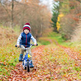 Little kid boy with bicycle in autumn forest Stock Photography