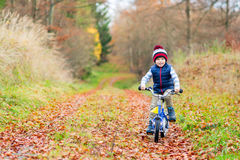 Little kid boy with bicycle in autumn forest Royalty Free Stock Images
