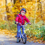 Little kid boy with bicycle in autumn forest Royalty Free Stock Photo