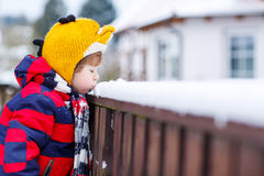Little kid boy in colorful clothes happy about snow, outdoors Stock Photos