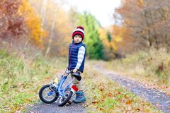Little kid boy in colorful warm clothes in autumn forest park driving bicycle. Active child cycling on sunny fall day in royalty free stock image