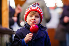 Little kid boy eating crystalized apple on Christmas market Stock Photography