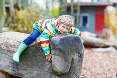 Little kid boy having fun on autumn playground Royalty Free Stock Photo