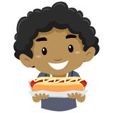 Little Kid Boy Holding a Hotdog. Vector Illustration of Little Kid Boy Holding a Hotdog Stock Image