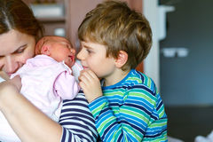 Little kid boy kissing newborn sister. Mother holding baby on arm. Royalty Free Stock Photography