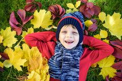 Little kid boy lying in autumn leaves in red pullover. Happy child having fun in autumn park on warm day. Cute school boy smiling stock images
