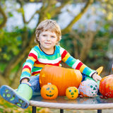 Little kid boy making jack-o-lantern for halloween in autumn gar. Adorable blond kid boy sitting with traditional jack-o-lantern for halloween in autumn garden Stock Image