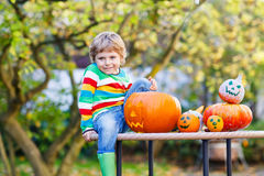 Little kid boy making jack-o-lantern for halloween in autumn gar. Den, outdoors. Having fun on sunny warm october day Stock Photography