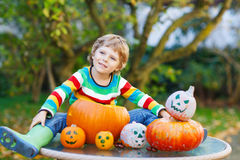 Little kid boy making jack-o-lantern for halloween in autumn gar Royalty Free Stock Photos