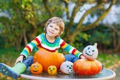 Little kid boy making jack-o-lantern for halloween in autumn gar. Den, outdoors. Having fun on sunny warm october day Royalty Free Stock Photos