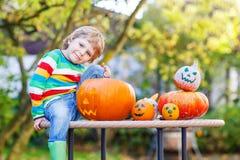 Little kid boy making jack-o-lantern for halloween in autumn gar Royalty Free Stock Photo