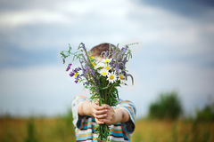Little kid boy in meadow bouquet of flowers at the countryside. Royalty Free Stock Photography