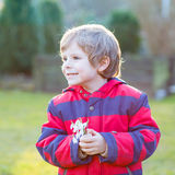 Little kid boy in red jacket holding snowdrop Royalty Free Stock Photo
