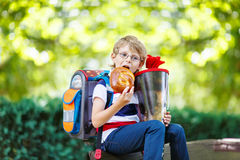 Little kid boy with school satchel on first day to school Royalty Free Stock Photos